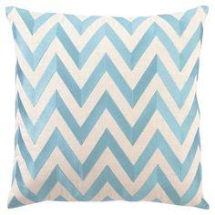 DL Rhein Zig Zag Turquoise Embroidered Linen Pillow