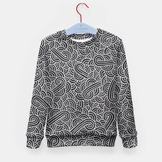 """Black and silver zentangles"" Kid's Sweater by Savousepate on Live Heroes #sweatshirt #kidsapparel #kidsclothing #pattern #graphic #modern #bling #abstract #doodles #zentangles #scrolls #spirals #arabesques #black #grey #gray #silver"
