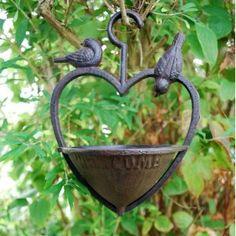 ~ Cast Iron Heart Shaped Bird Feeder ~ Oh, our birds would love this! Garden Bird Feeders, Garden Birds, I Love Heart, Hanging Hearts, Love Symbols, Heart Art, It Cast, Cast Iron, Bird Feathers