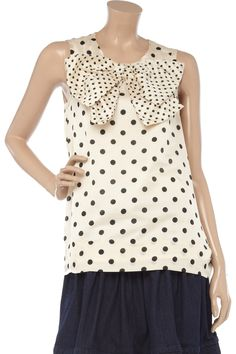 Sonia by Sonia Rykiel bow-embellished cotton-blend polka dot top