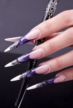 Nail art by Eszter Varga  Long Stiletto Nails