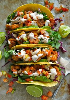 Chipotle Shrimp Tacos w/ Pico de Gallo & Chipotle-Lime Crema. Use low carb wraps.