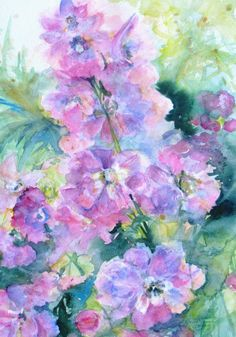 delphinium Original Watercolor painting 25% off SALE abstract garden floral fine art 16 x 20 frame ready