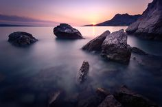 Omis, Croatia II - A beautiful sunset in Omis, Croatia. Smooth water from a long exposure.