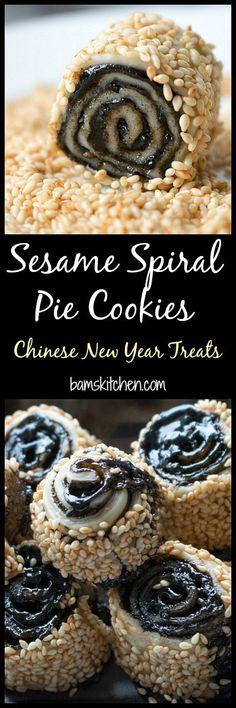 Sesame Spiral Pie Cookies / CNY/ Chinese New Year/ Cookies/ #ChineseNewYearCookieParty/ http://bamskitchen.com