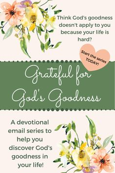 Grateful for God's Goodness is here to help you identify something God is doing in your life every day while deepening your faith and understanding of God. Throughout this email devotional series you'll learn: -how to identify it in your life -the purpose of God's goodness -the 3 meanings of goodness throughout the Bible -how it applies to our lives -and more! Sign up today and join me on an incredible journey this year!