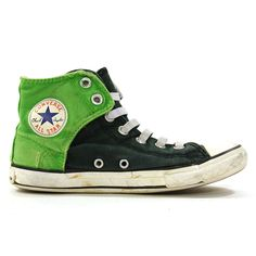 3852818de1d1 90s Converse High Top Sneakers   Vintage 1990s Two Tone Green Chucks    Rockabilly Rocker Boho Hippie Basketball Shoes   Junior s 2.5 Women 5