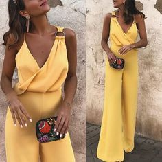 Sexy Fashion Yellow Sleeveless Jumpsuit mumetaz - March 28 2019 at Jumpsuit Outfit Dressy, Yellow Jumpsuit, Rompers Women, Jumpsuits For Women, Mode Bcbg, Overall, Classy Outfits, Spring Outfits, Cute Dresses