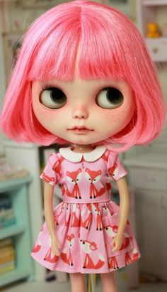 Pink fox dress with tiny pocket short sleeves by petitecreayations