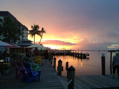 Sunset at Fort Myers Beach while dining at Nervous Nellies