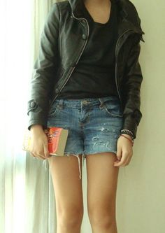 Leather Jacket and Distressed Shorts