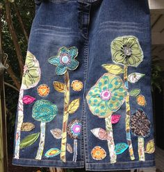 denim boho hippie jean skirt recycled patchwork by SewUnruly
