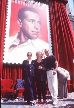 Lauren Bacall at the unveiling of a postage stamp of her husband HUMPHREY BOGART with their children