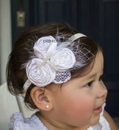 The Esther- Christening or Baptism Handmade Rosette Flower Headband with Feather, Lace and Veiling with a Diamond Cross on Etsy, $22.50