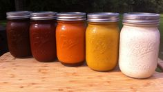 Five homemade BBQ Sauces  Coffee  Sweet Heat  Silky Butter  Marverlous Mustard  Alabama White