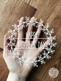 Happy Mother's Day Wreath SVG PDF - Papercutting Template to print and cut yourself (Commercial Use)