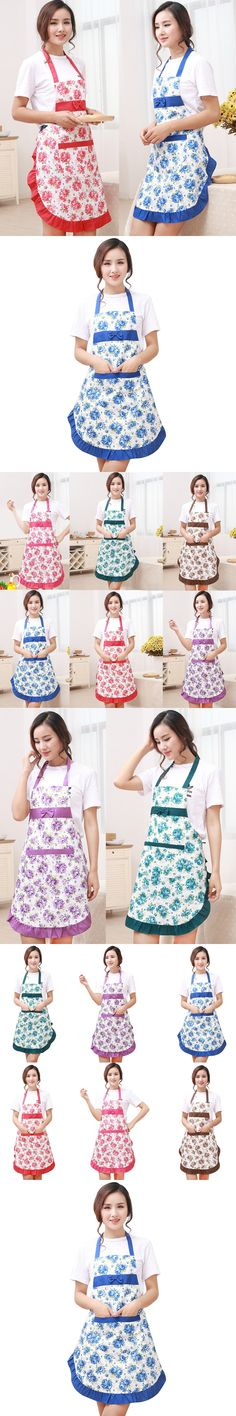 New Printed Apron with pockets waterproof floral bib kitchen soil release aprons bowknot home textiles women bibs breech cloth