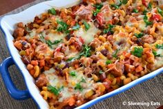 Sausage and Bean Pasta Bake - 1 syn (dependant on sausage used) and 1 HEa per serving Slimming World Sausages, Slimming World Dinners, Slimming Eats, Slimming World Recipes, Baked Pasta Recipes, Baby Food Recipes, Cooking Recipes, Healthy Recipes, Kitchen Recipes