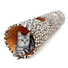 Cat Tunnel - Leopard Print Tunnel Toys For Cats With 2 Top Holes 25cm x 126cm - Cove Cotton