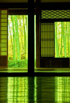 Old Japanese House in Spring, by Osaru -----The spring-green colors are beautiful. like being wrapped in freshness and life. Japanese Interior, Japanese Design, Asian Design, Art Asiatique, L5r, Japanese Architecture, Kyoto Japan, Japan Sakura, Japan Japan