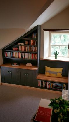 Bench seat and bookcase combo. Painted cabinets with Euro Oak tops by jdwoodwork.co.uk Painting Cabinets, Room, Home, Living Room Design Inspiration, Living Room Shelves, Bookcase, Painted Cupboards, Window Seat, Living Room Designs