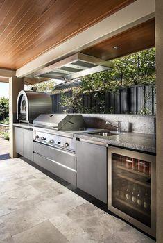 Outdoor Bbq Kitchen, Outdoor Cooking Area, Backyard Kitchen, Summer Kitchen, Outdoor Kitchen Design, Kitchen Decor, Kitchen Ideas, Kitchen Inspiration, Diy Kitchen