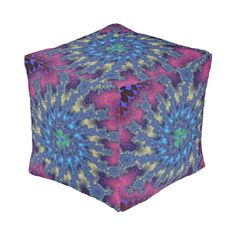 Customizable Seafoam Fractal Burst Cube Pouf on sale at www.zazzle.com/wonderart* Click on the picture to take you directly to the product for purchase and info.