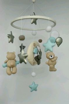 Baby crib mobile for a little boy with bears gray and beige, clouds, shiny silver stars, bear on the moon, balloons. Handcrafted mobile is ideal for decorating nursery or children's room. This will be a great gift for a baptis Baby Room Boy, Baby Boy Cribs, Baby Room Decor, Baby Boy Nurseries, Baby Boys, Nursery Decor, Cot Mobile, Baby Crib Mobile, Baby Mobile Felt