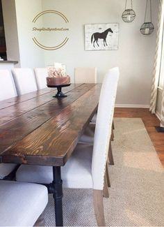 Reclaimed wood table 30 x 72 with 1 1/4 pipe base Counter height ...