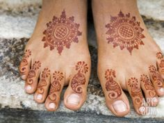 Henna Painting on Feet of Young Girl Photographic Print by Anders Blomqvist at Art.com
