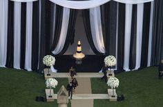 black and white draping Kim Kardashian Wedding