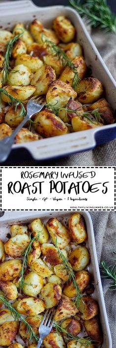 Perfectly crunch on the outside and fluffy on the inside roast potatoes that are infused with rosemary! They only contain 3 ingredients are are gluten free, vegan, plant based, healthy and simple to make. Click the photo for the recipe and give them a try Gf Recipes, Dairy Free Recipes, Potato Recipes, Vegan Gluten Free, Healthy Recipes, Potato Meals, Gnocchi Recipes, Spinach Recipes, Healthy Dinners