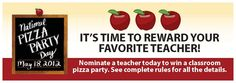 Your favorite teacher can win a Pizza Party from Garlic Jim's