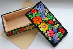 Folk art Ukrainian Handmade copernica box for a money box for jewelry Petrykivka Painting original   Famous Petrykivsky - the card of Ukraine, peoples