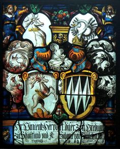 Heraldic window in the church at Schöftland, Switzerland