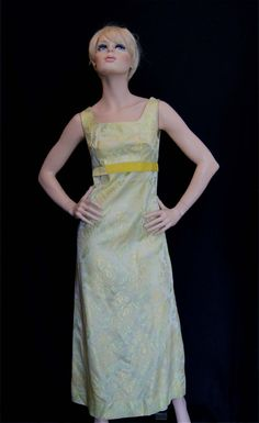 Vintage 60s Yellow-Green Floral Damask Evening Gown Dress S M