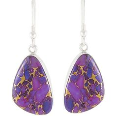 Sterling Silver Earrings Purple Turquoise E1058-C77