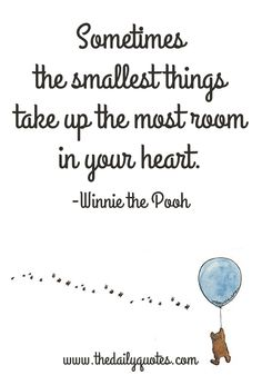 Sometimes the smallest things take up the most room in your heart. – Winnie the Pooh thedailyquotes.com