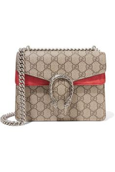 GUCCI Dionysus Coated-Canvas And Suede Shoulder Bag. #gucci #bags #shoulder bags #canvas #suede #