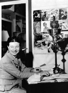 Simone de Beauvoir at her desk, just after her trip to China. Paris, 1955. Photo:Inge Feltrinelli.