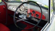 The Interior and Dashboard of a fully restored 1965 Morris Minor seen at Motcombe Village Showground in June 2014 Morris Traveller, Automobile, 1960s Cars, Morris Minor, Van Interior, Mini S, Motor Company, First Car, Commercial Vehicle