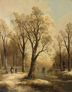 Jan Jacob Spohler - Winters bosgezicht met schaatsers op een bevroren rivier