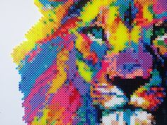 Perler Bead Colorful Lion by NeedItBeaded on Etsy