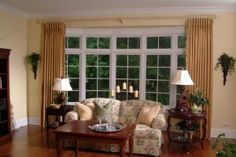 interior minimalist home design with bay window and white bench seat storage decoration incredible living French Door Window Coverings, French Door Curtains, Bay Window Curtains, Window Curtain Rods, French Doors, French Windows, Drapes Curtains, Metal Curtain, Modern Window Treatments