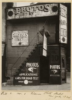 Walker Evans, New York City - License Photo Studio, Notary, Road Test and Plates (1934)