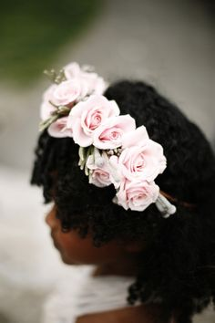 blush flower halo with roses - the bloom of time