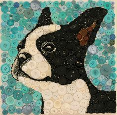 - - - - Boston terrier - - - - Buttons/beads on canvas 12X12 SOLD