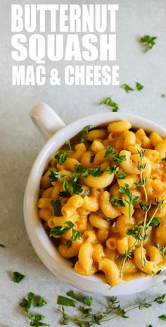 Butternut Squash Mac and Cheese! Creamy, cheesy and loaded up with butternut squash puree. A lighter take on a perfect Fall comfort food.