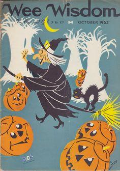 "danismm: "" 1964 Halloween-themed ad for Dan River sheets "" Retro Halloween, Vintage Halloween Images, Halloween Magic, Halloween Labels, Halloween Books, Holidays Halloween, Halloween Costumes For Kids, Halloween Themes, Paper Halloween"