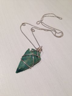 Agate arrowhead wire wrapped necklace silver by nightmarianne, $28.00